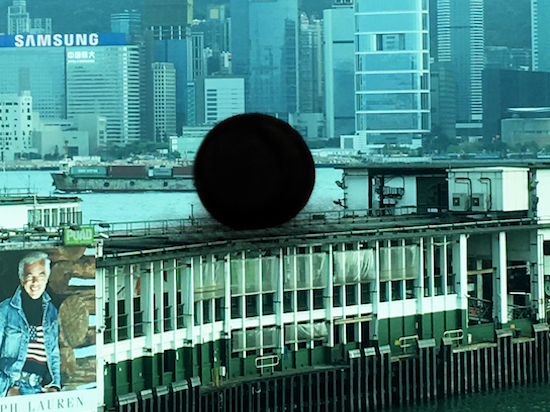Black Ball, 2000<br/>Hand felted merino wool around inflatable PVC form (Work in public space)<br/>300–350 cm in diameter
